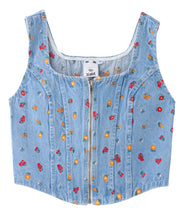 Load image into Gallery viewer, EMBROIDERED FLOWER CORSET TOP, SHIRT, X-Girl