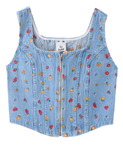 EMBROIDERED FLOWER CORSET TOP, SHIRT, X-Girl