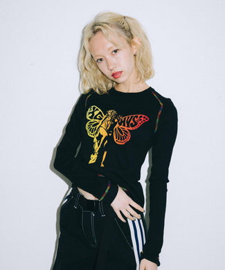 X-girl × HYSTERIC GLAMOUR BUTTERFLY BABY L/S TEE