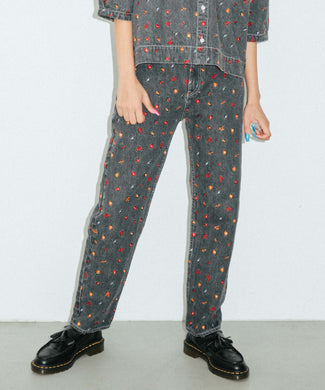 EMBROIDERED FLOWER DENIM PANTS, PANTS, X-Girl