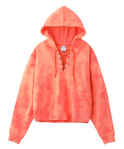 BLEACHED LACE UP SWEAT HOODIE - X-girl
