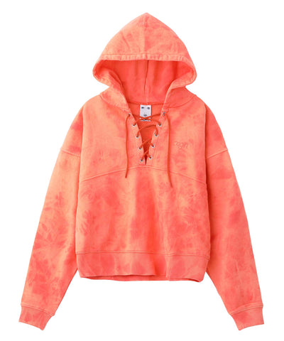 BLEACHED LACE UP SWEAT HOODIE, HOODIES & SWEATERS, X-Girl
