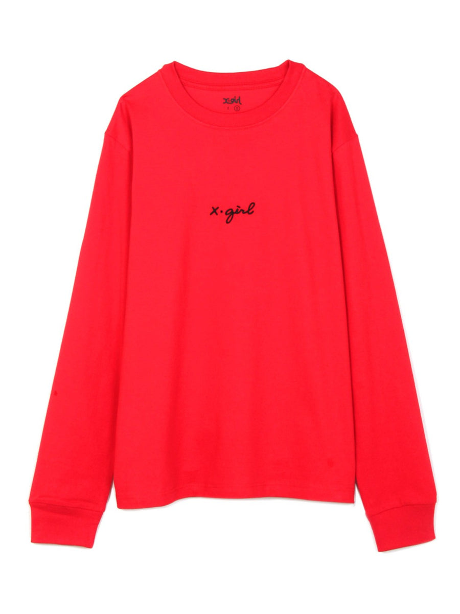EMBROIDERY CURSIVE LOGO L/S REGULAR TEE, T-SHIRTS, X-Girl