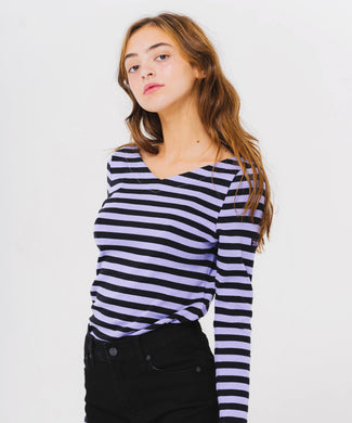 V-NECK STRIPED TOP, C&S, X-Girl