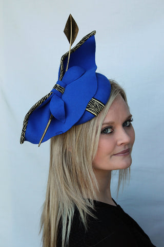 royal blue felt cocktail hat