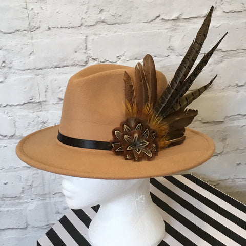 camel fedora hand embellished with game bird feathers