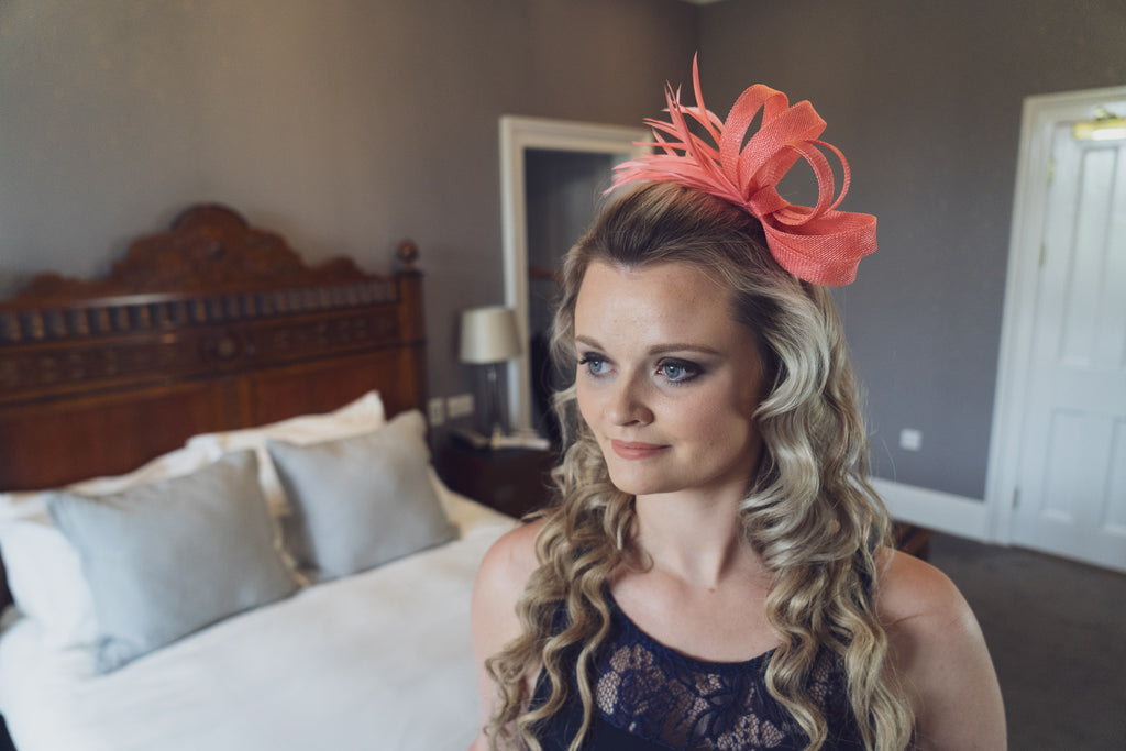 Coral wedding fascinator