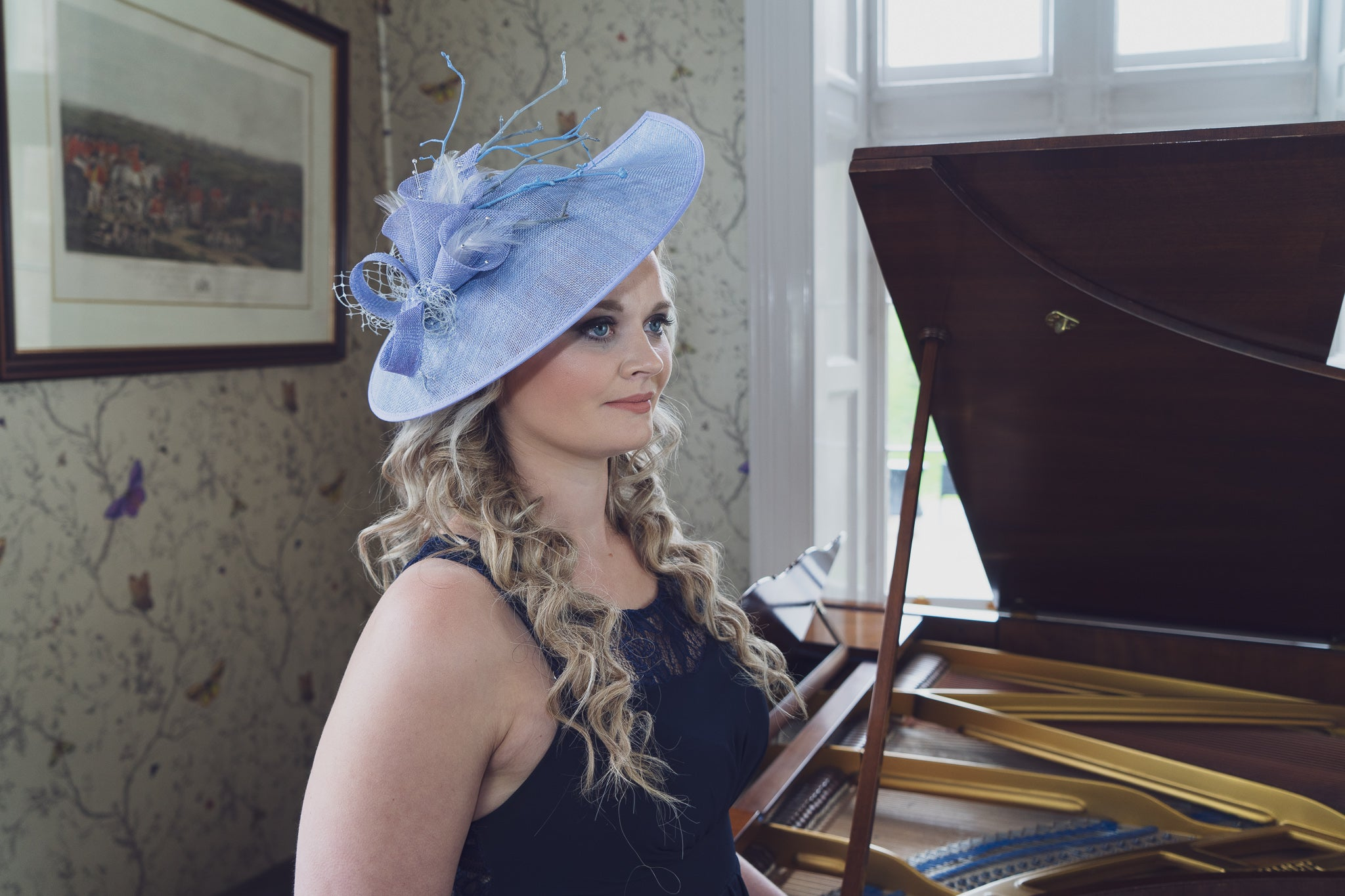 cornflower blue saucer hat