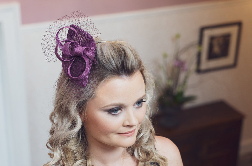 Plum purple sinamay fascinator