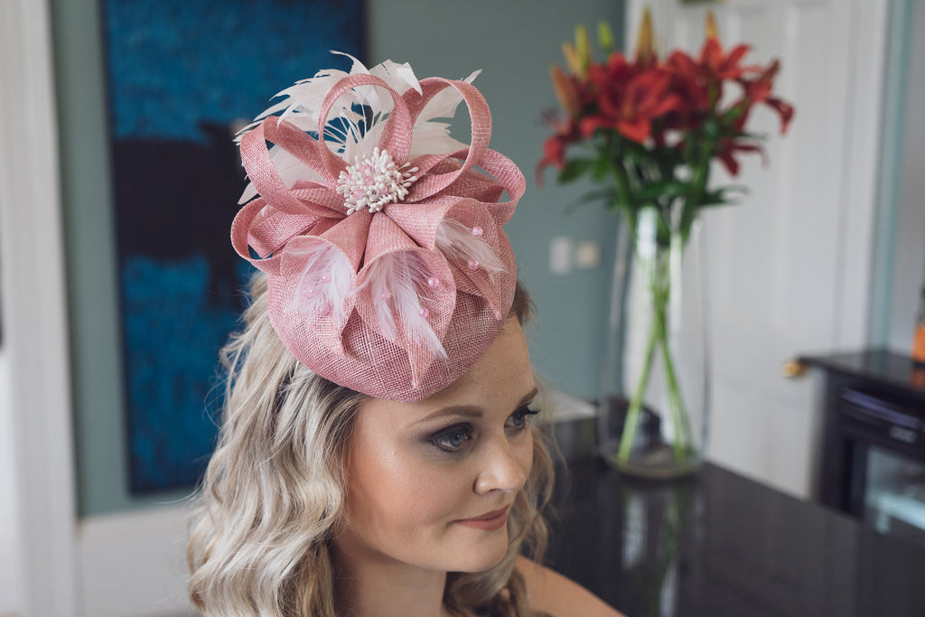 Dusky pink and ivory hat