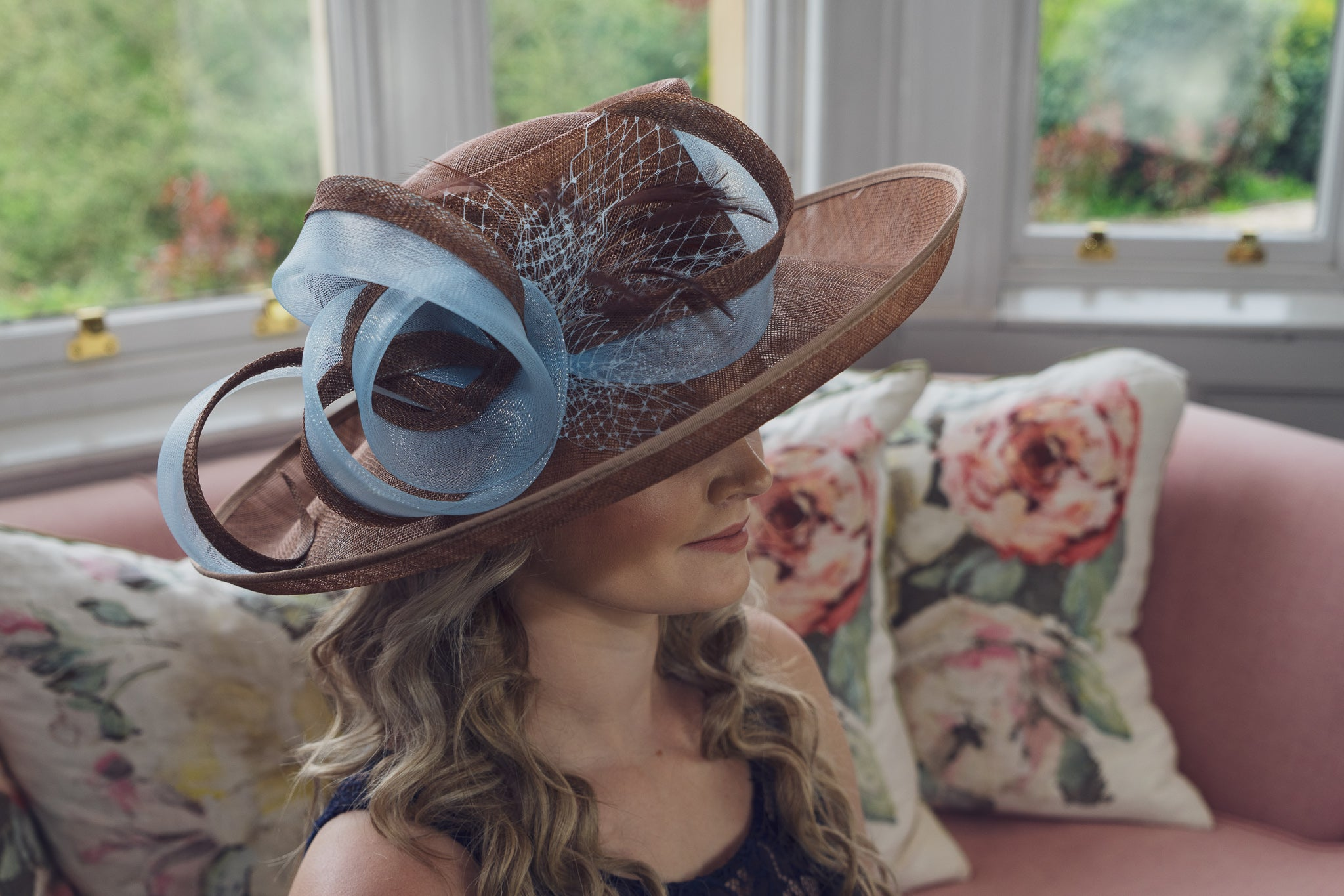 coffee brown and light blue sinamay hat