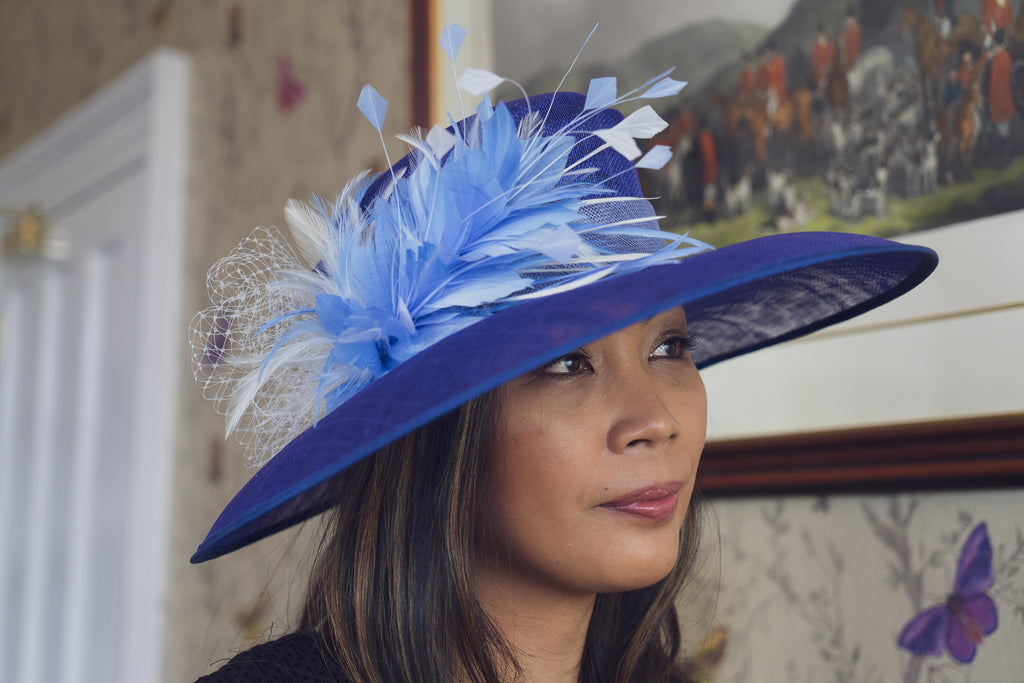 royal blue and perwinkle wedding hat