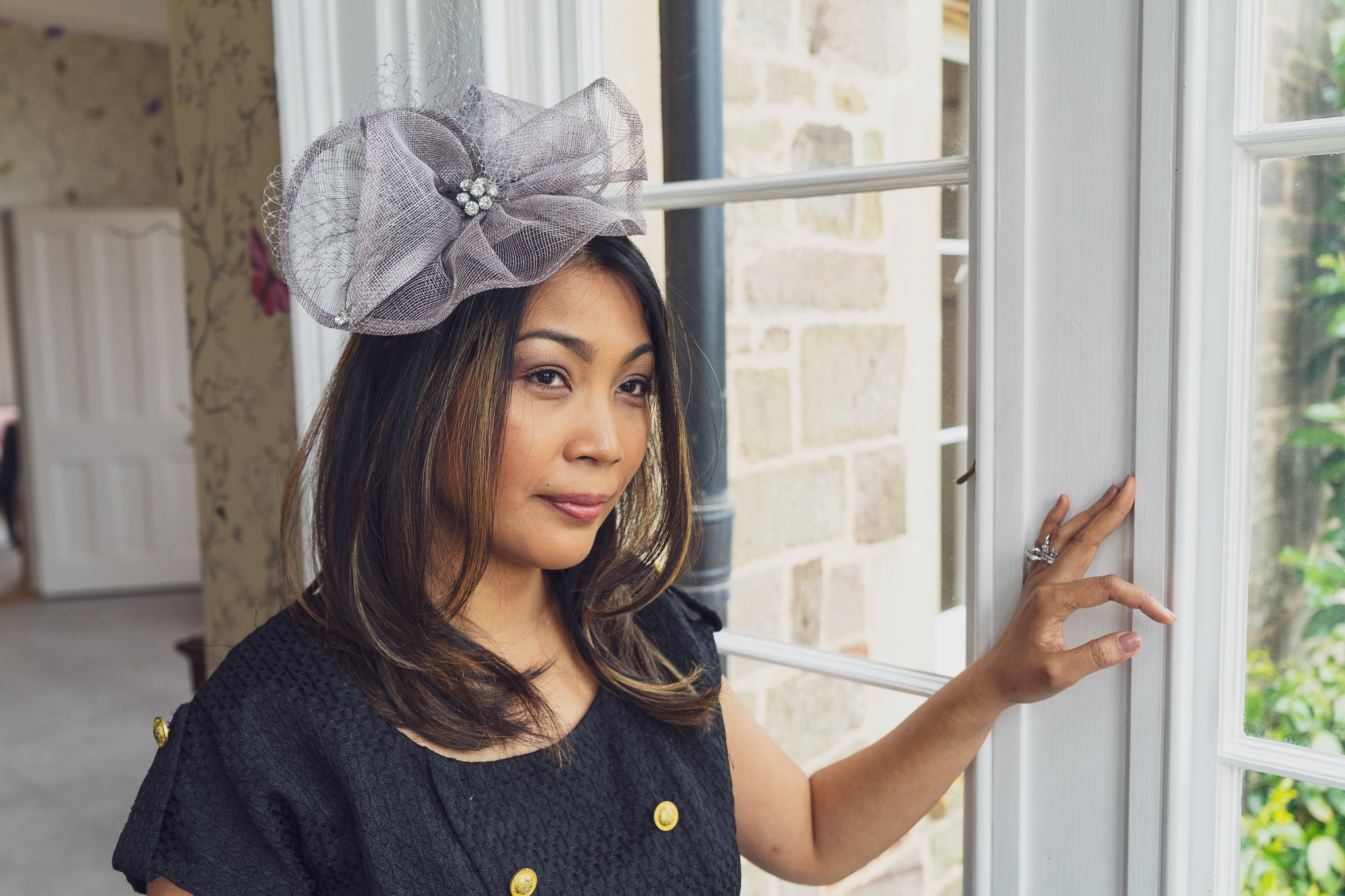Pewter grey fascinator