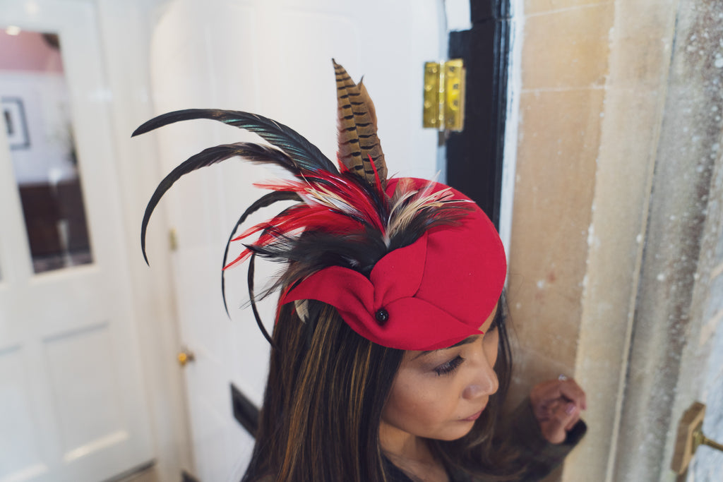 Red felt cocktail hat