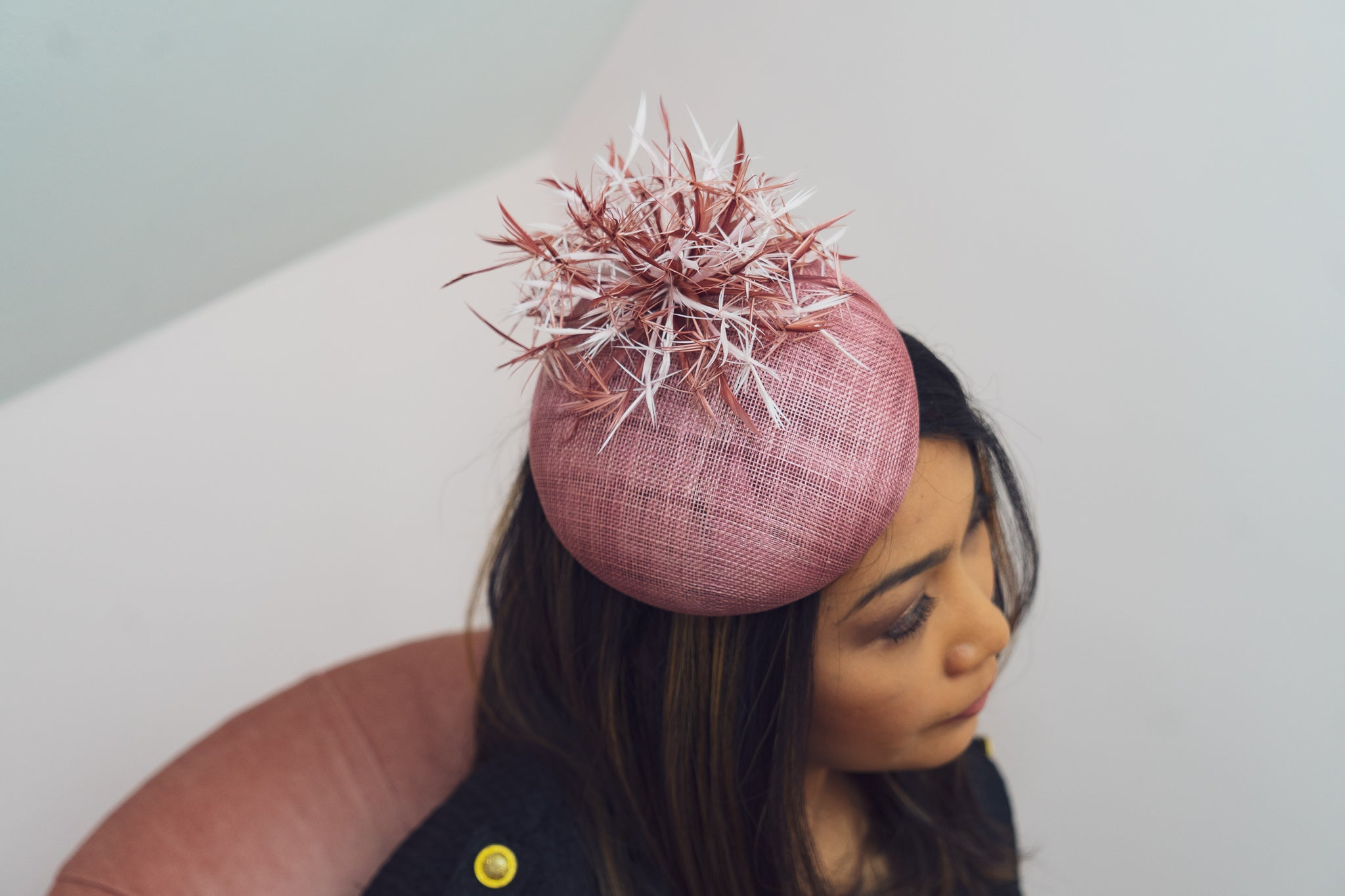 dewberry pink pillbox hat