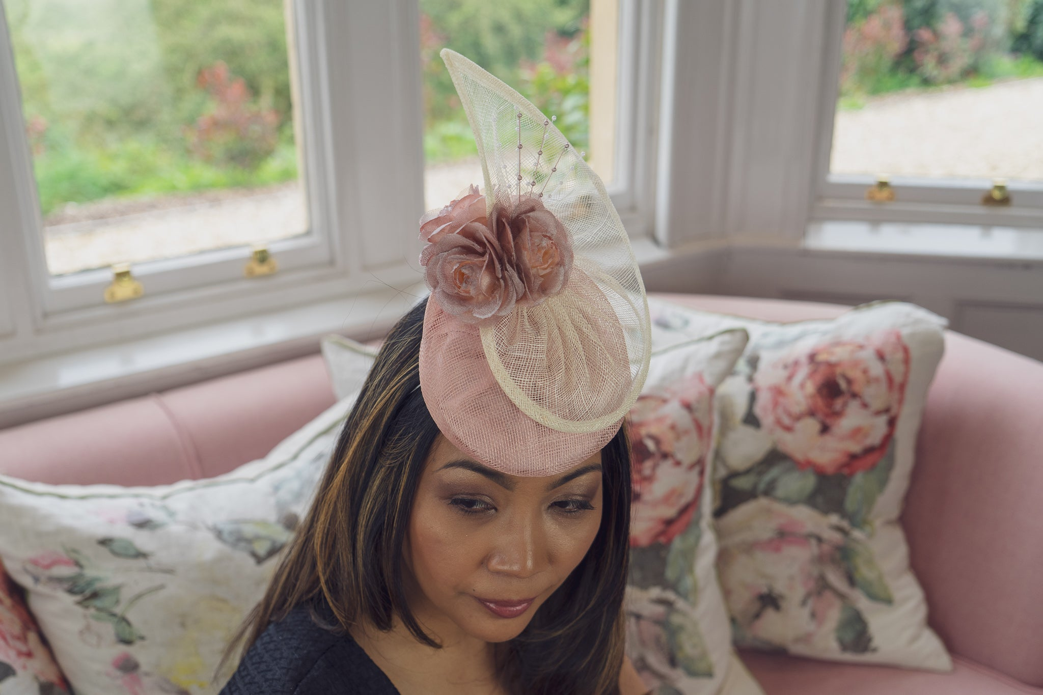 Salmon pink, rose gold and ivory hat