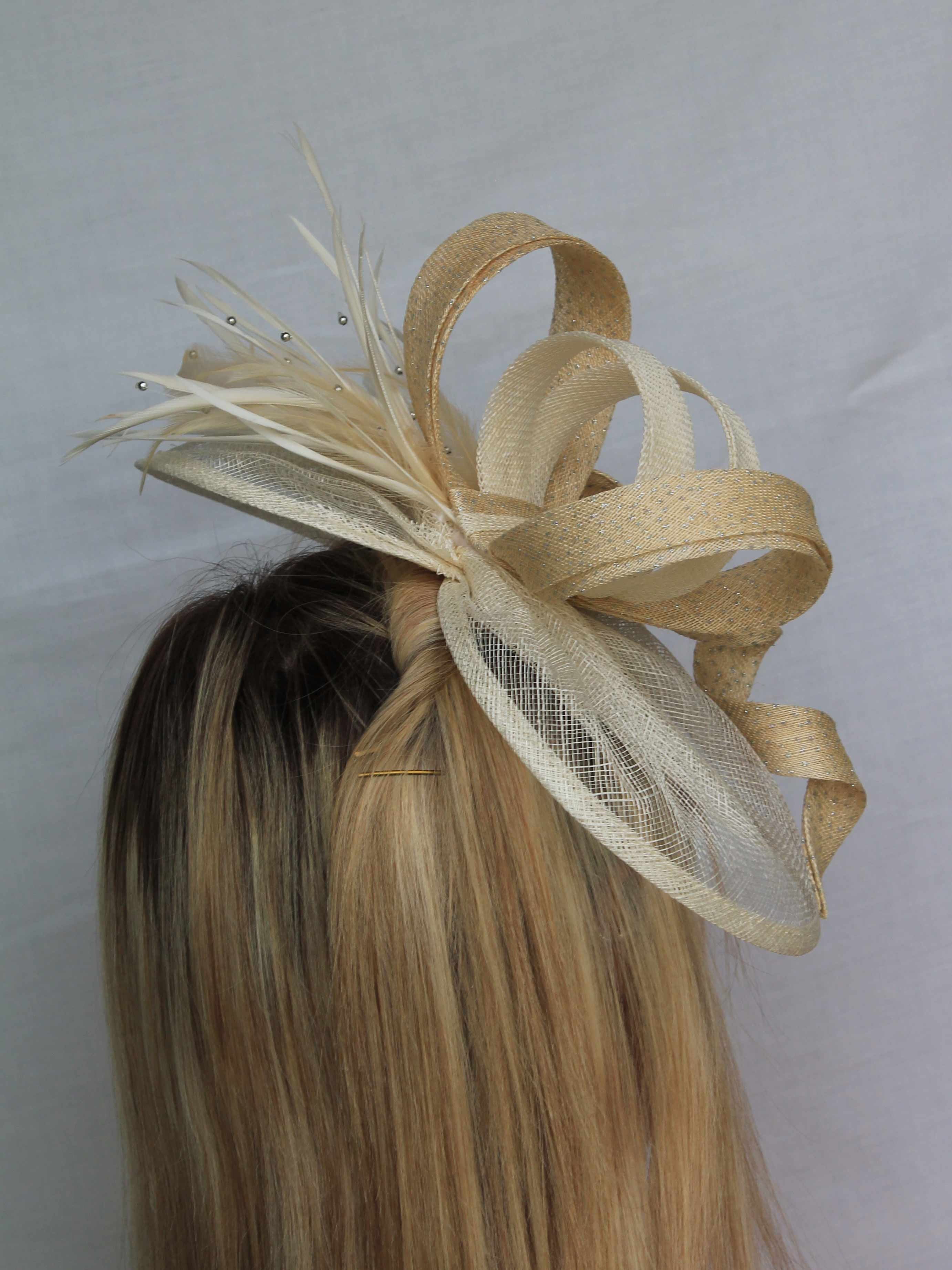 Etta - The base of the fascinator is created from a single layer of sinamay, each one is hand sewn to a gather and finished with a sinamay binding. Each one is hand crafted so the size may alter slightly.