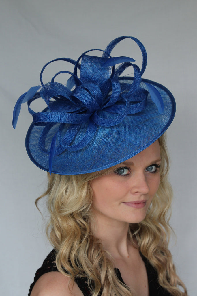 Everlyn fascinator created in electric blue, wedding or raceday headpiece