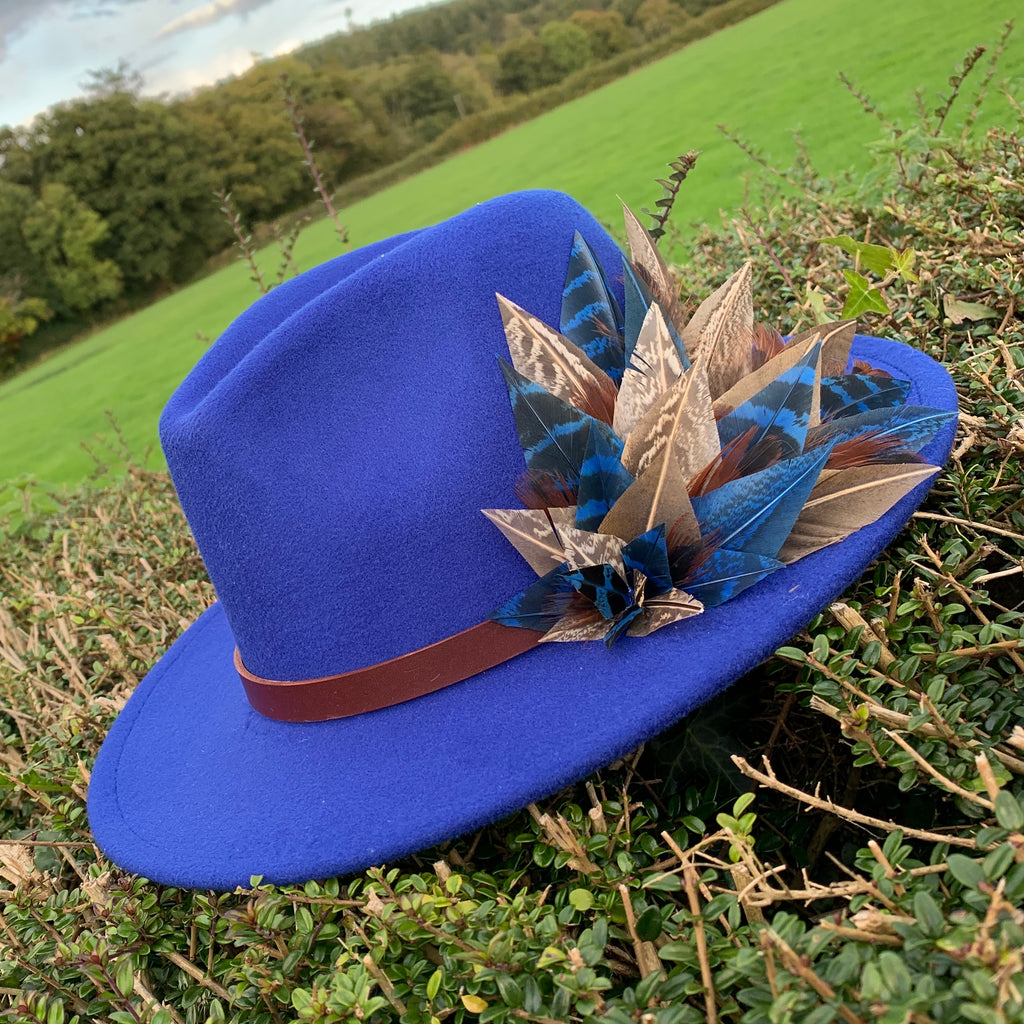 'Bonnie' fedora in royal blue