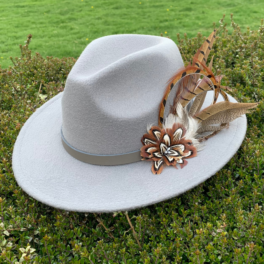 Light grey fedora hand embellished with natural game bird feathers