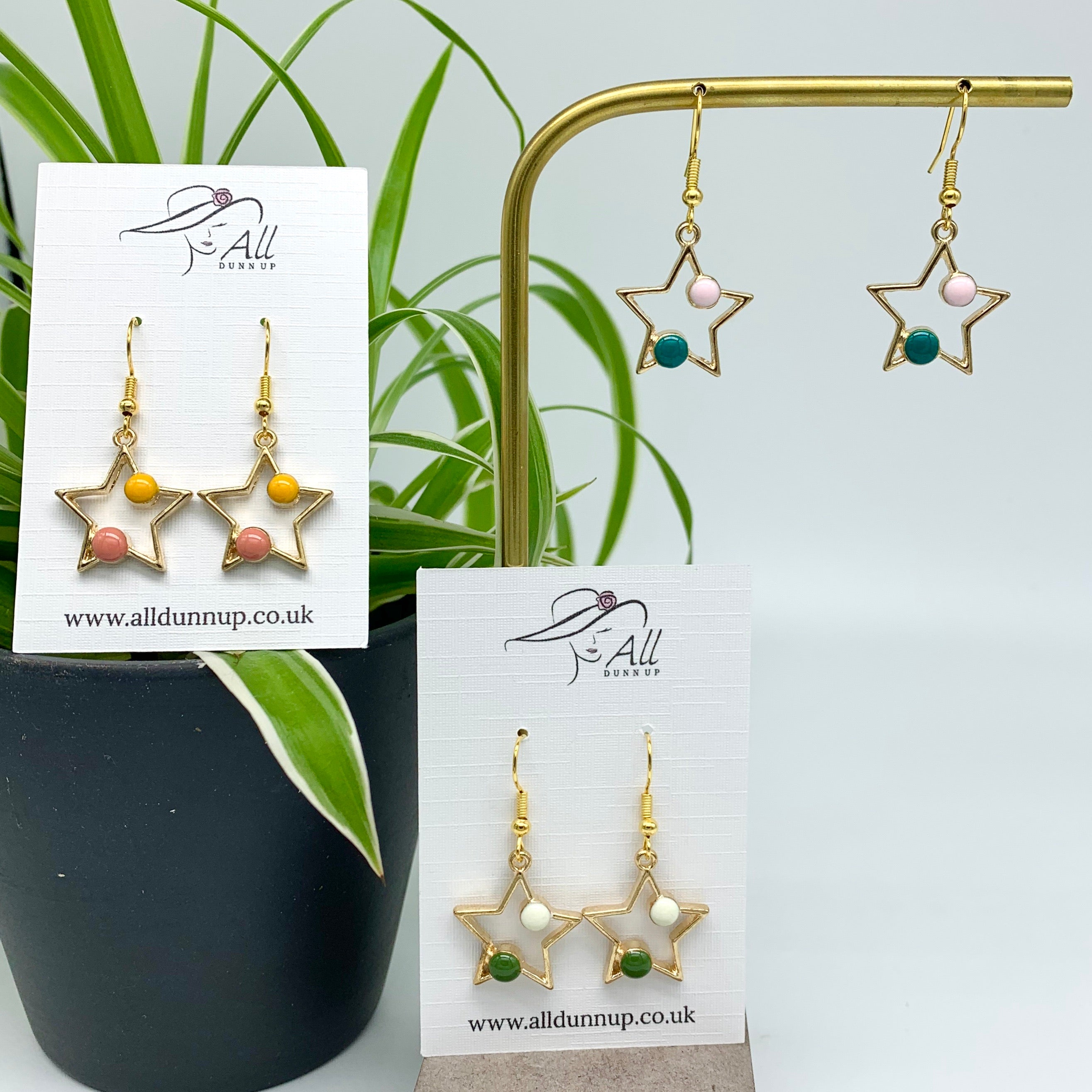 Star Earrings - teal and pale pink enamel
