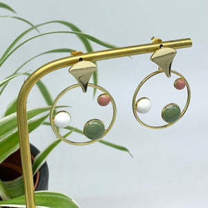 Eclipse Circle Drop Earrings - dusky pink, green& white