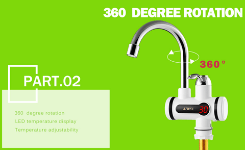 360 degree rotation of instant hot water kitchen