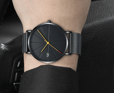 black black color stainless steel mesh watch
