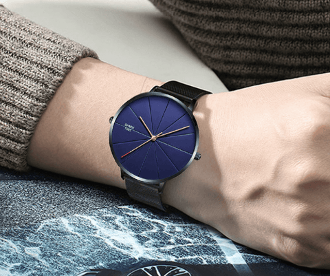 black blue color stainless steel mesh watch