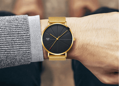 gold black color stainless steel mesh watch