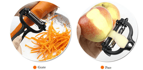 grating the carrot and peeling the apple by multifunctional 360-degree rotary vegetable fruit slicer