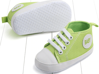 green color's first walking shoes for baby boy