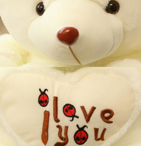 i love you embroidery teddy bear