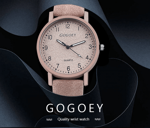 pink color leather wrist watch