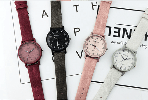 red black pink and white colors leather wrist watches