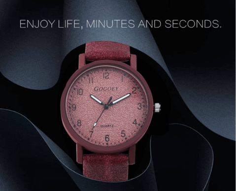 red color leather wrist watch