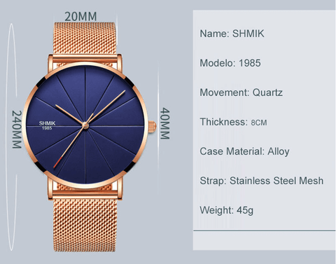 rose blue color stainless steel mesh watch description