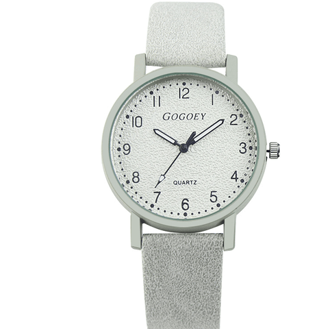 white color leather wrist watch