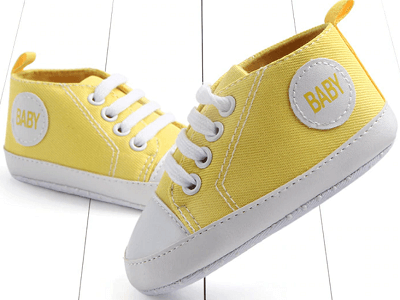 yellow color's first walking shoes for baby