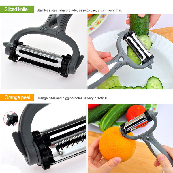 slicing the vegetable and orange peel by by multifunctional 360-degree rotary vegetable fruit slicer