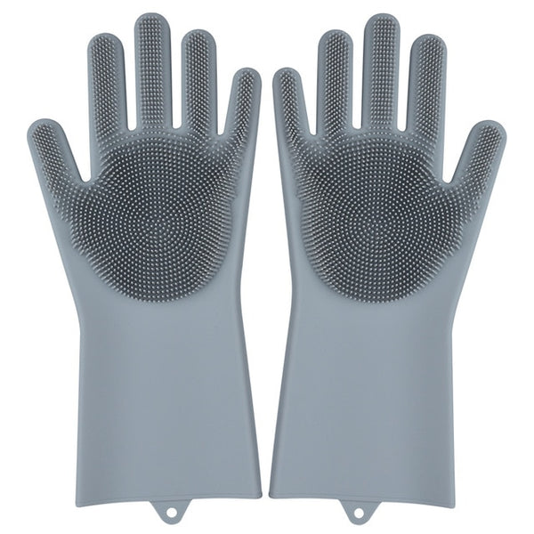 grey color magic silicone gloves
