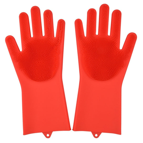 red color magic silicone gloves