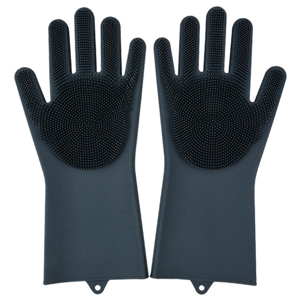 black color magic silicone gloves