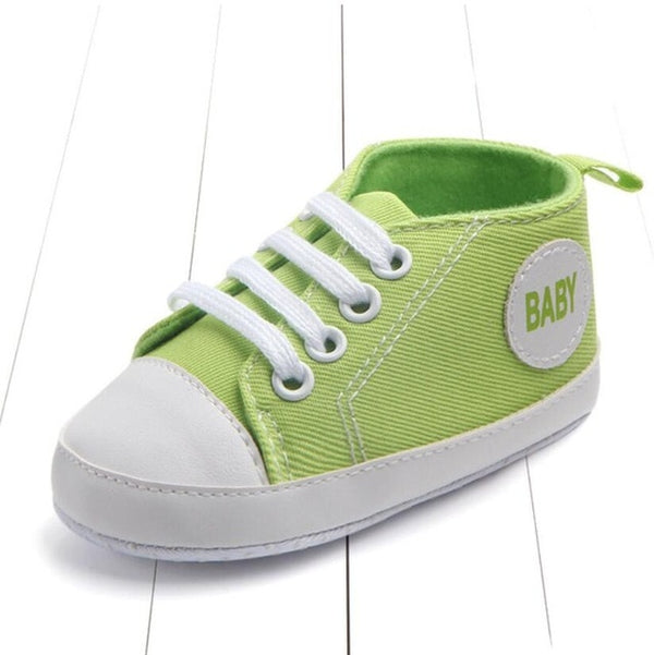 green color's first walking baby shoes