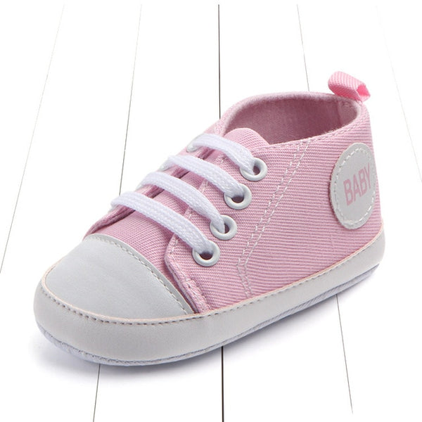 pink color's first walking baby shoes