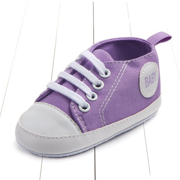 purple color's best first walking baby shoes