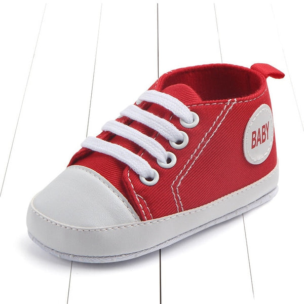 red color's first walking baby shoes