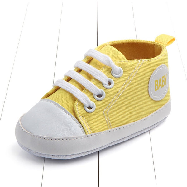 yellow color's first walking baby shoes