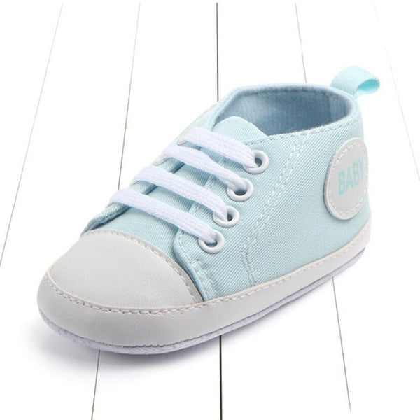 light blue color's first walking baby shoes