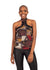 African Renaissance - Brown Print High Neck Choker Top